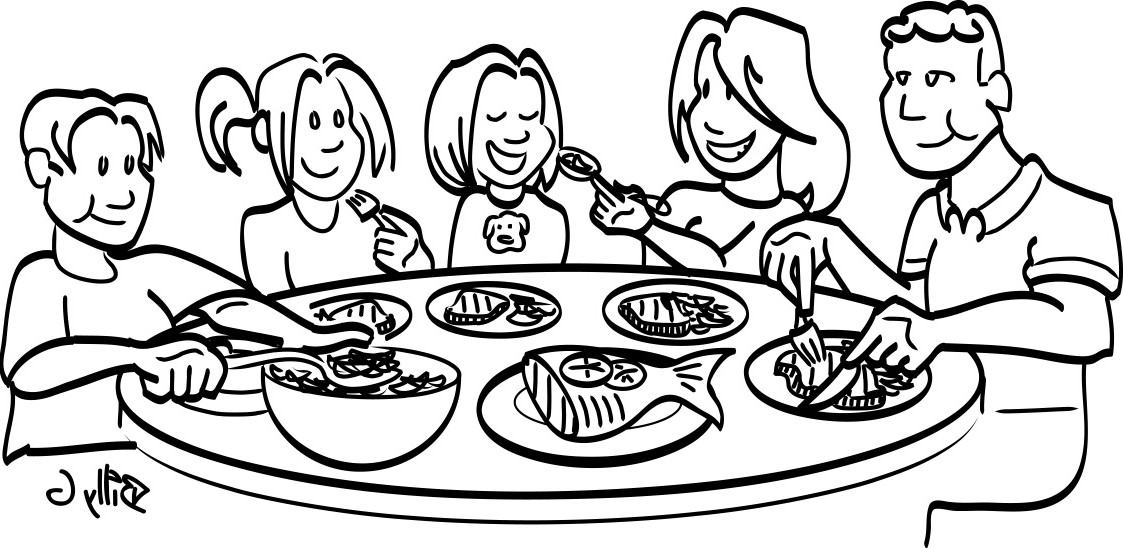 Free clipart black and white outline kid eating supper clipart transparent library Friends Dining Cliparts - Cliparts Zone clipart transparent library