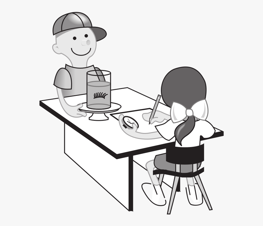 Children at table clipart black and white png library stock Kids At Table Doing Experiment - Classroom Clip Art #573922 - Free ... png library stock