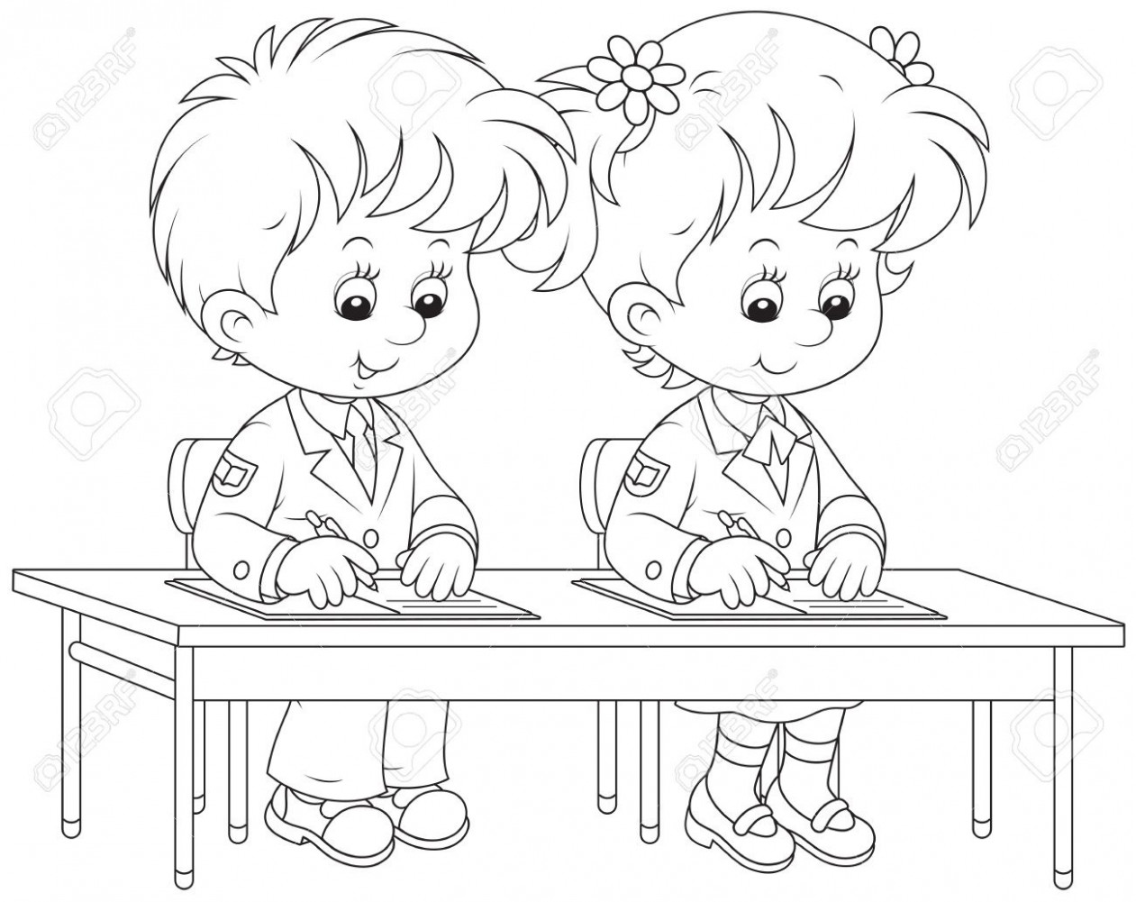 Children at table clipart black and white image library stock Child writing clipart black and white 7 » Clipart Station image library stock