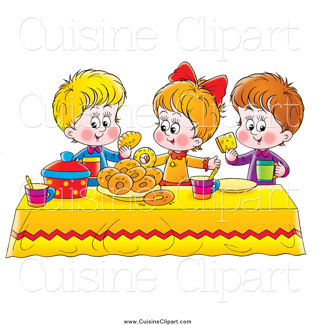 Black and white clipart for child eating at a table graphic royalty free Cuisine Clipart of a White Girl and Two Boys Eating Bread and Bagels ... graphic royalty free
