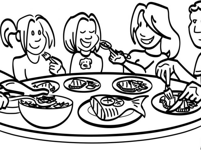 Black and white clipart for child eating at a table jpg transparent Dinner Table Drawing | Free download best Dinner Table Drawing on ... jpg transparent
