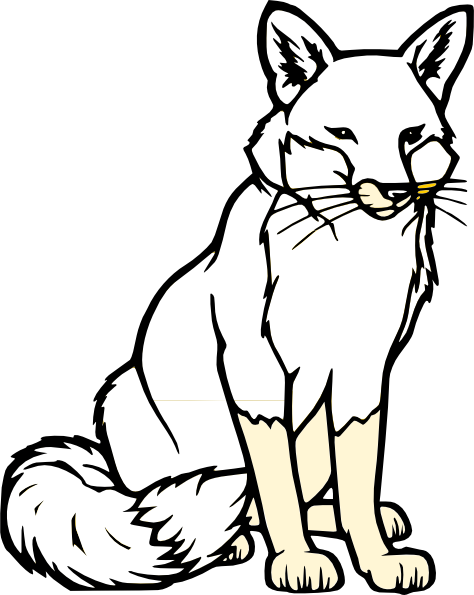 Black and white clipart fox