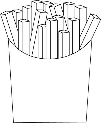 Black and white clipart fries