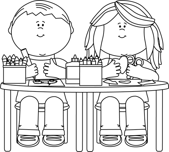 School first grade clipart black and white free image transparent library clip art black and white | Black and White Kids in Art Class Clip ... image transparent library