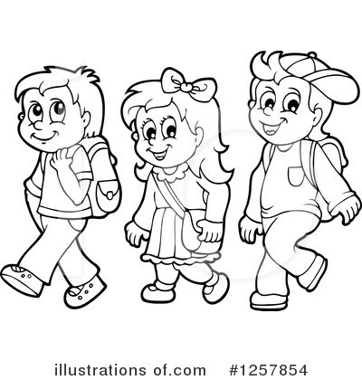 Kids walk the line clipart black and white vector black and white download Go to school clipart black and white 3 » Clipart Station vector black and white download