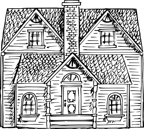 House clipart black and white outline clip transparent stock Black And White Victorian House Clip Art at Clker.com - vector clip ... clip transparent stock