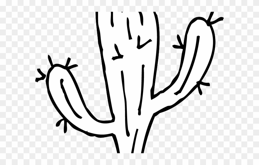 Black and white clipart image of cactus jpg freeuse download Whit Clipart Cactus - Cactus Clipart Black And White - Png Download ... jpg freeuse download