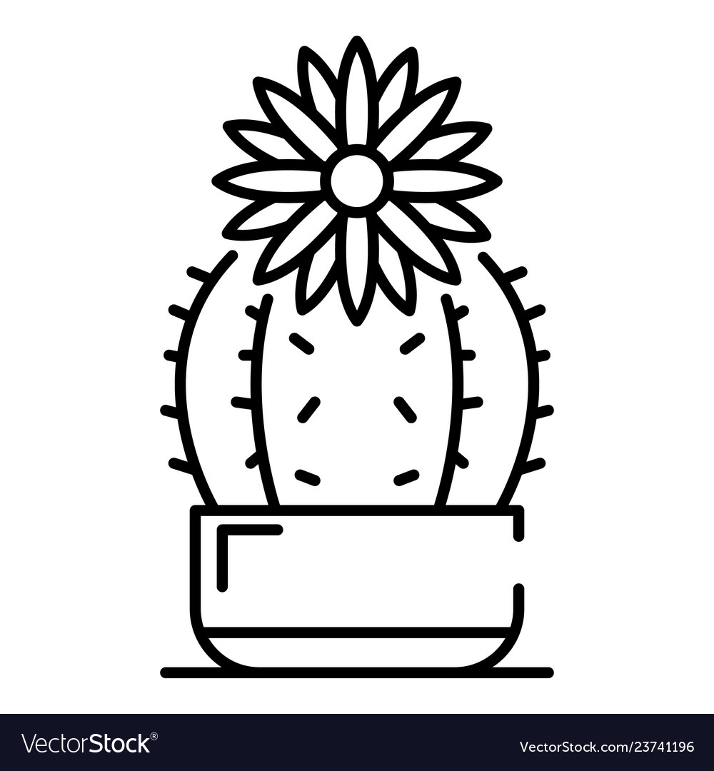 Black and white clipart image of catus flowers black and white stock Flower cactus icon outline style black and white stock