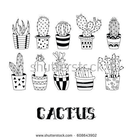 Black and white clipart image of catus flowers transparent Cactus Drawing Black And White at PaintingValley.com | Explore ... transparent