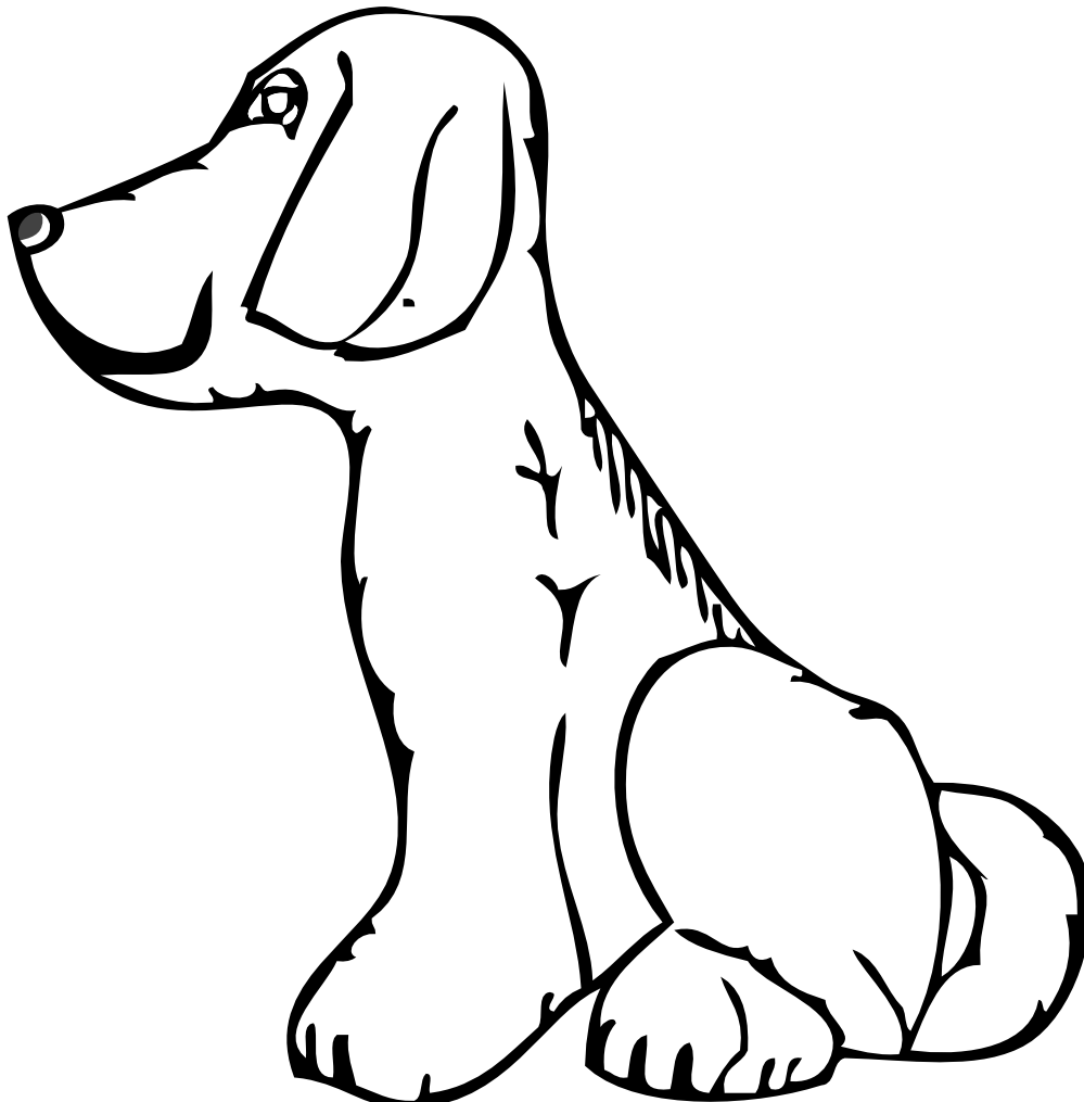 Black and white dog. Free blackline clipart for dogs
