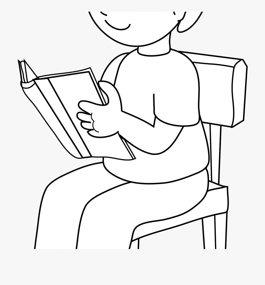 Black and white clipart images of kids reading clip art black and white download Child Sitting On Chair Clipart - Kid Sitting On A Chair Clipart ... clip art black and white download