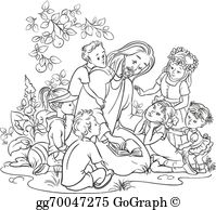 Black and white clipart of jesus with children graphic transparent Jesus Children Clip Art - Royalty Free - GoGraph graphic transparent