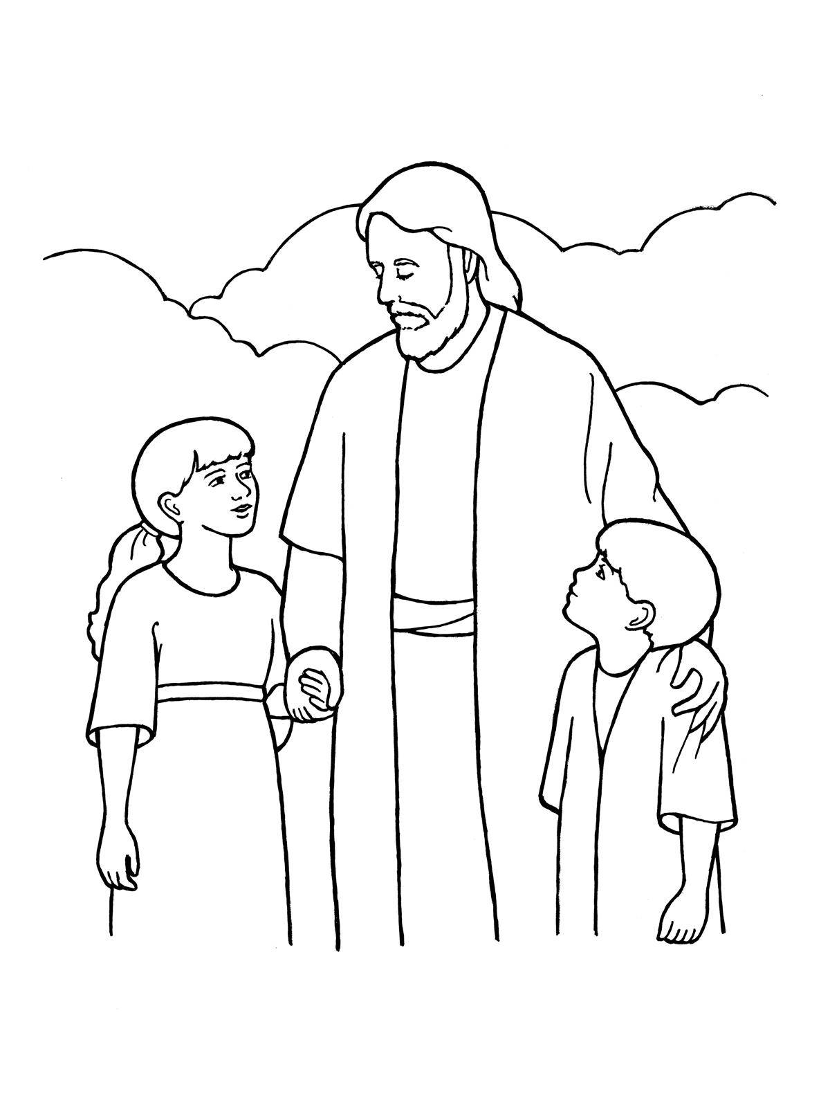 Black and white clipart of jesus with children image black and white Eternal Life image black and white