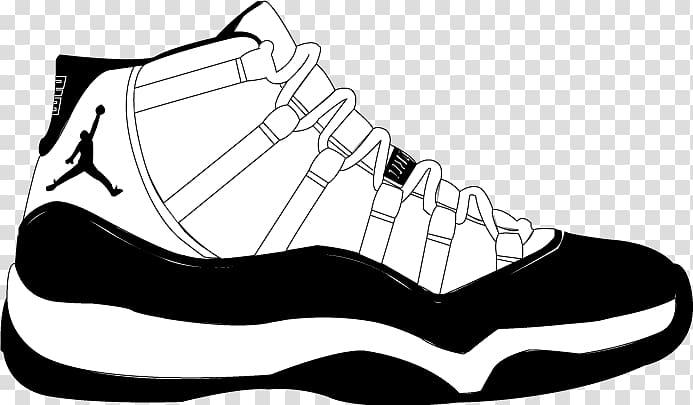 Black and white clipart jordan jpg library Unpaired black and white Air Jordan 11 shoe illustration, Air Jordan ... jpg library