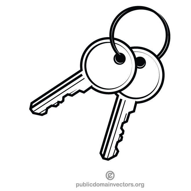 Clipart keys clip art black and white stock Pair of keys - Free vector image in AI and EPS format. clip art black and white stock