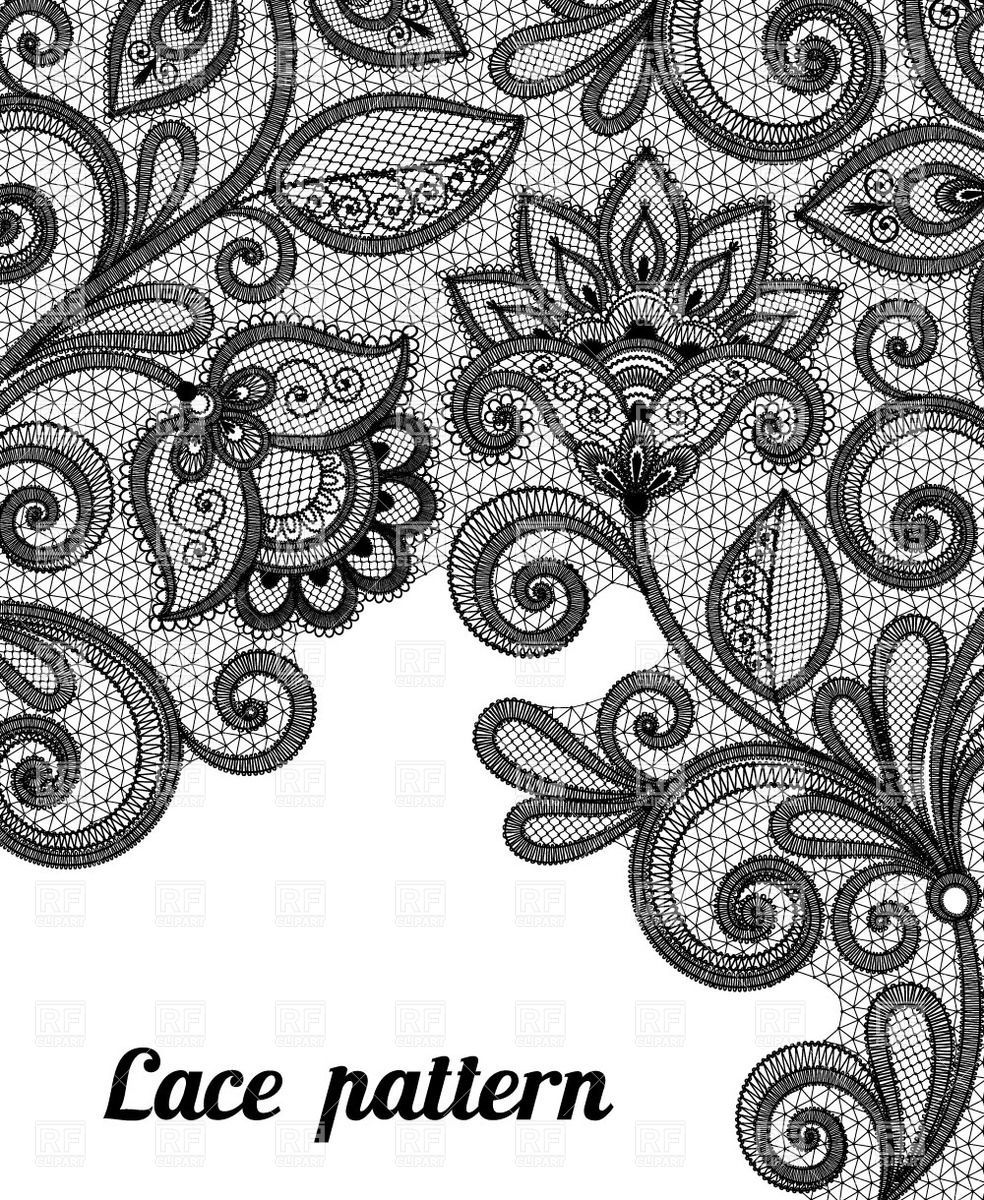 Black and white clipart lace jpg free stock Floral black lace pattern Vector Image – Vector illustration of ... jpg free stock