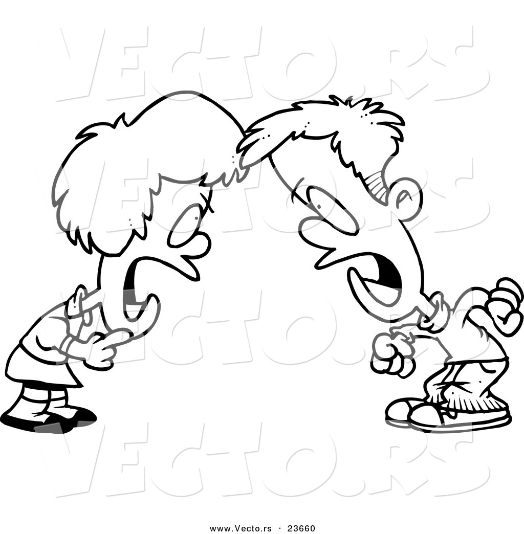 Black and white clipart mom yelling at boy transparent Vector of a Cartoon Boy and Girl Having a Yelling Match - Coloring ... transparent