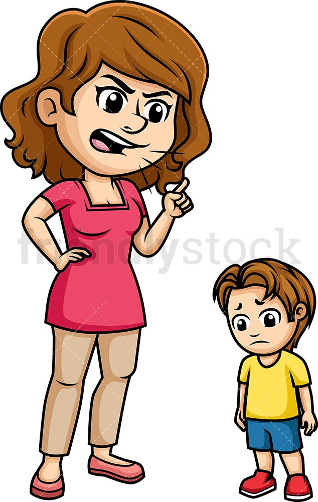 Black and white clipart mom yelling at boy