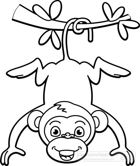 Black and white clipart monkey picture freeuse download Monkey black white clipart | Rocks | Cartoon monkey, Jungle animals ... picture freeuse download