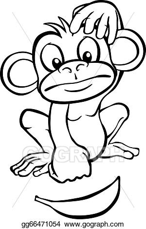 Black and white clipart monkey clipart library library Vector Art - Black and white cartoon monkey with banana. Clipart ... clipart library library