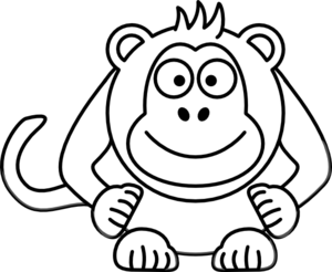 Black and white clipart monkey image transparent Black And White Cartoon Monkey Clip Art at Clker.com - vector clip ... image transparent