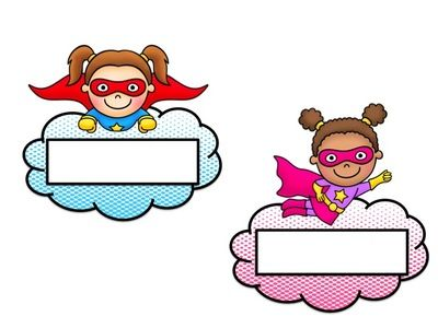 Black and white clipart nametag dan clip freeuse Superhero Name Tags - EDITABLE from House Fly Creations on ... clip freeuse
