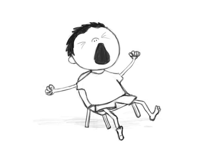 Yawning black child clipart