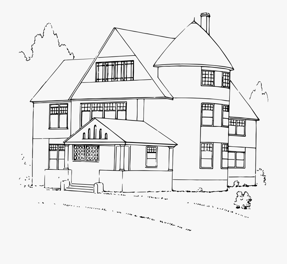 Black and white clipart of a home vector transparent download House Black And White Clipart House - Big House Clipart Black And ... vector transparent download