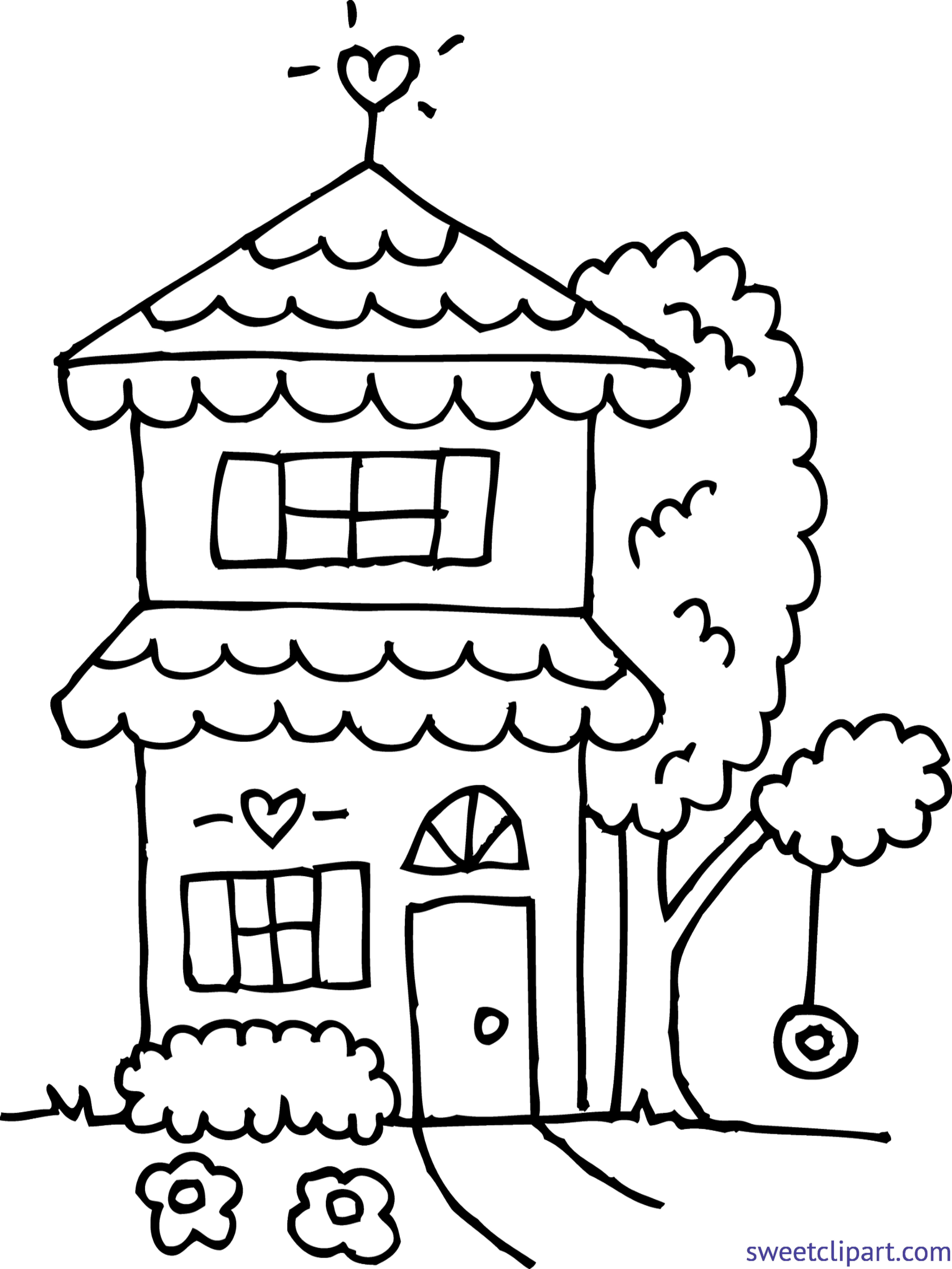 Cute house black and white clipart svg royalty free Cute House Drawing at GetDrawings.com | Free for personal use Cute ... svg royalty free