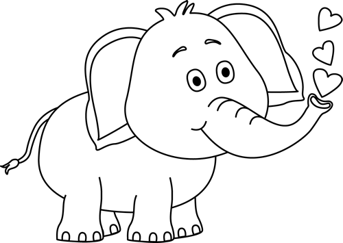 White elephant clipart free image black and white library Black and White Elephant Blowing Hearts Clip Art - Black and White ... image black and white library