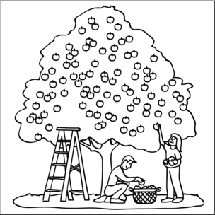 Black and white clipart of children picking apples graphic black and white Clip Art: Kids Picking Apples 01a B&W I abcteach.com | abcteach graphic black and white