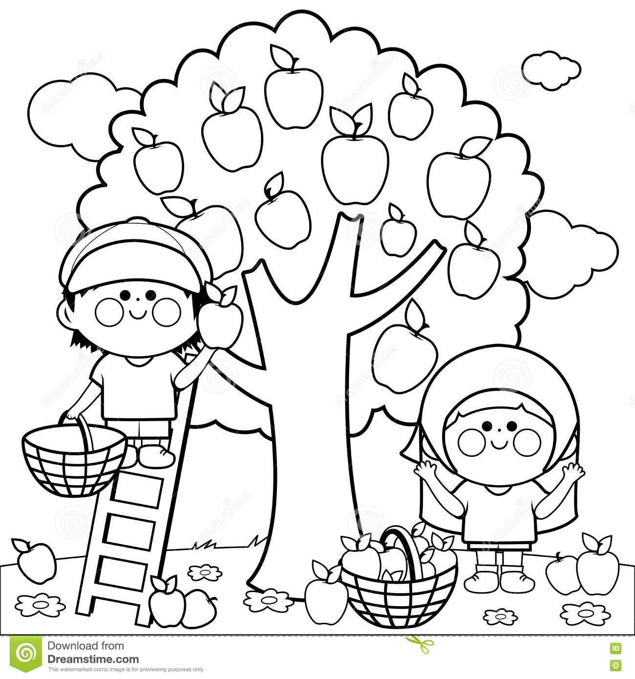 Black and white clipart of children picking apples clip art black and white stock Apple Picking Clipart Black And White clip art black and white stock