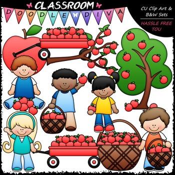 Black and white clipart of children picking apples clip art transparent stock Apple Picking Clip Art - Kids Picking Apples Clip Art by Classroom ... clip art transparent stock