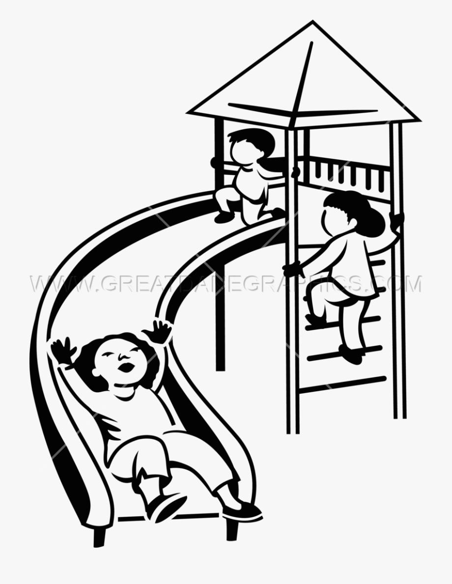 Black and white clipart of children sliding banner royalty free Children Slide Production Ready Artwork For T Shirt - Slide Clipart ... banner royalty free