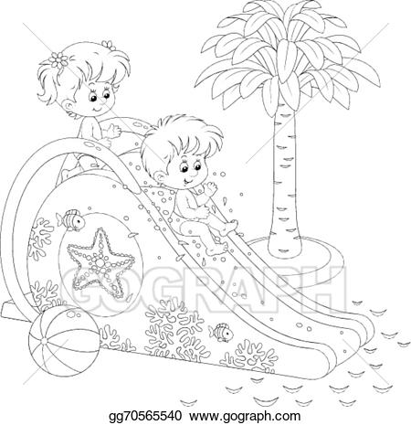 Black and white clipart of children sliding clip royalty free download Vector Clipart - Children on a waterslide. Vector Illustration ... clip royalty free download