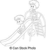 Black and white clipart of children sliding library Little boys on a slide Vector Clip Art Royalty Free. 131 Little boys ... library