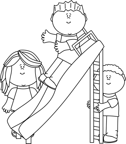 Black and white clipart of children sliding picture freeuse download Black and White Kids Playing on a Slide Clip Art - Black and White ... picture freeuse download