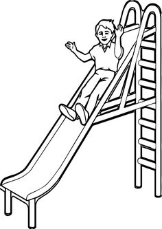 Black and white clipart of children sliding png library library Playground Slide Drawing | Free download best Playground Slide ... png library library