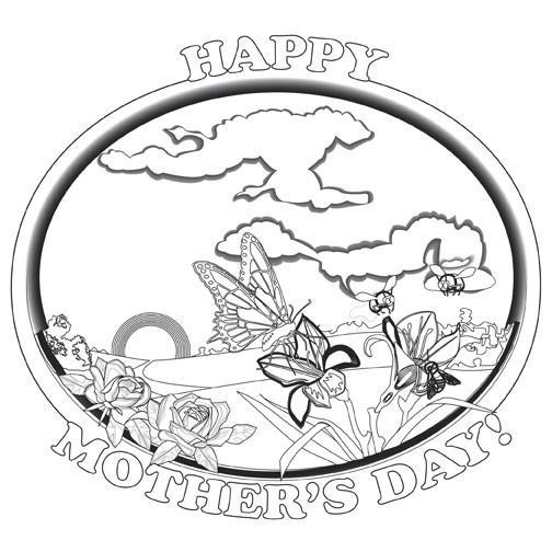 Black and white clipart of christian mothers day vector free Mother\'s Day Coloring card - 12/pk Size: 7 x 7 vector free