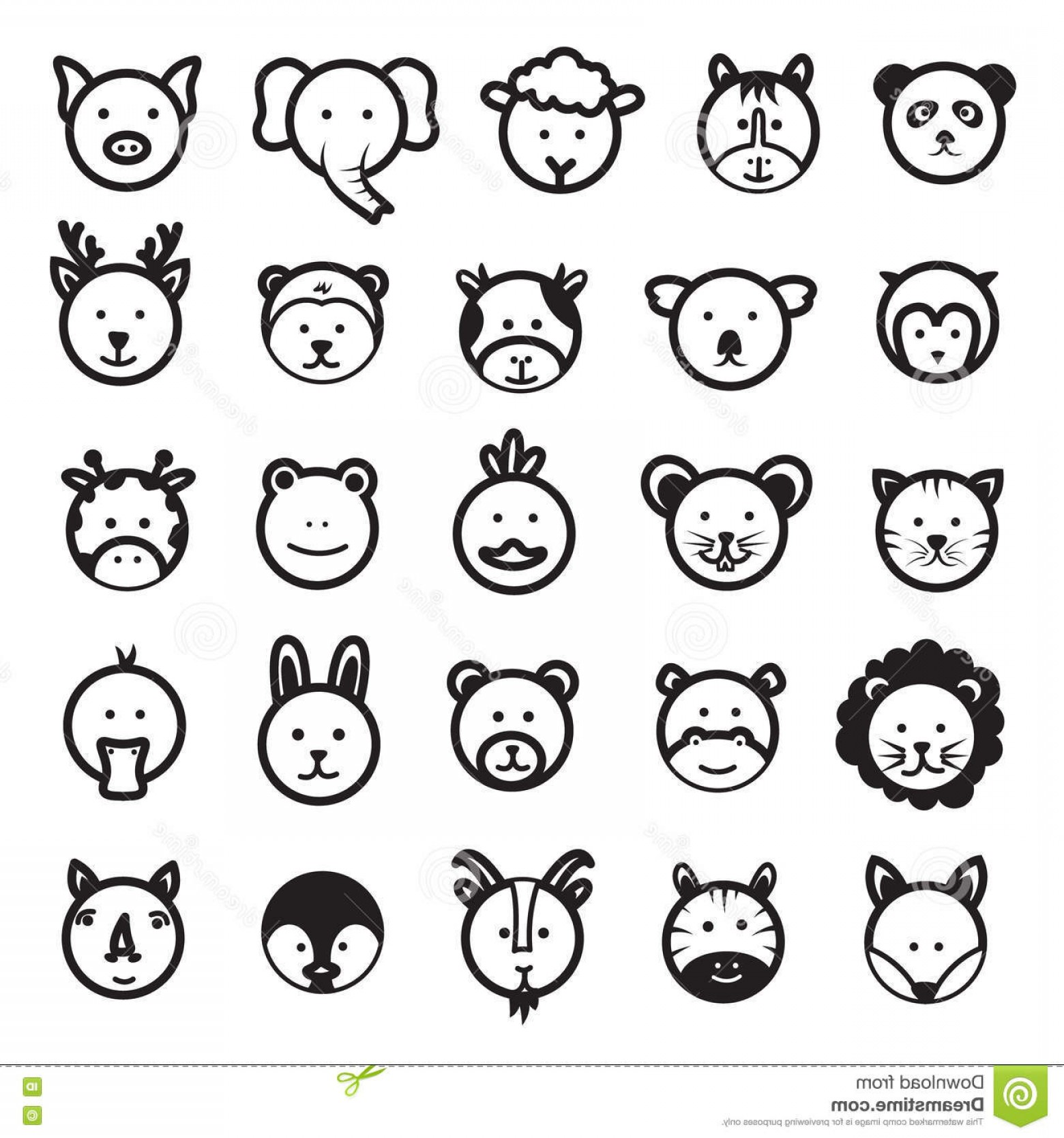 Black and white clipart of cute faces clip art freeuse download Stock Illustration Cute Animal Faces Vector Set Cartoon Character ... clip art freeuse download