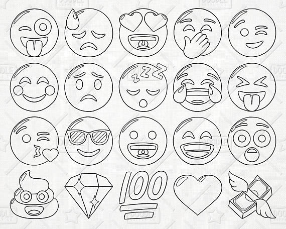 Clipart emoji pack picture free download Doodle Emoji Vector Pack, Smiley Faces Clipart, Hand Drawn Emoji ... picture free download