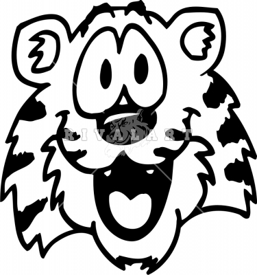 Black and white clipart of cute faces vector stock Tiger Clipart Black And White | Free download best Tiger Clipart ... vector stock