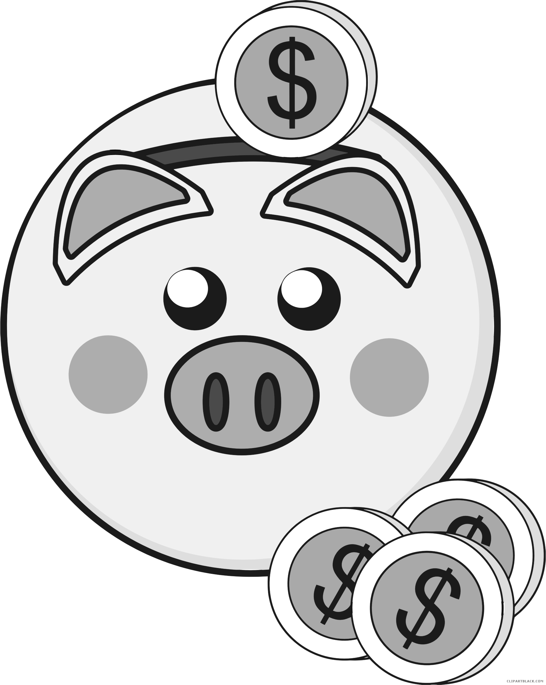 Black and white clipart of fish on a bank jpg black and white stock Piggy Bank Clipart - ClipartBlack.com jpg black and white stock
