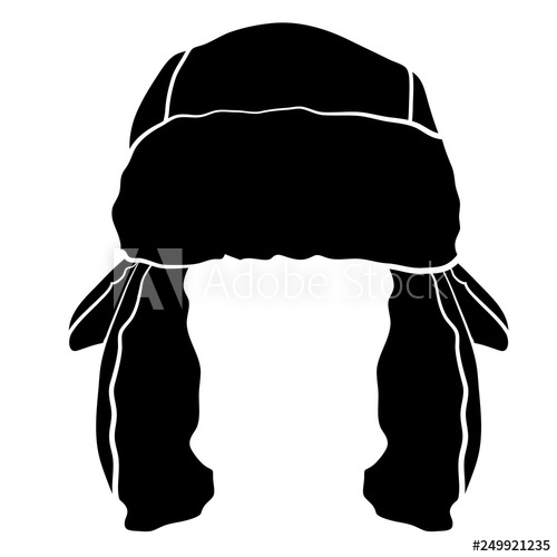 Black and white clipart of fur trapper