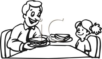 Free black and white clipart of breakfast and lunch
