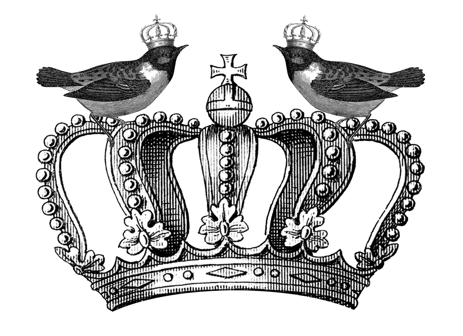 Black and white clipart of male crown black and white download Free Royal Crown and Birds Printable Happy Thankful Thursday Part 2 ... black and white download