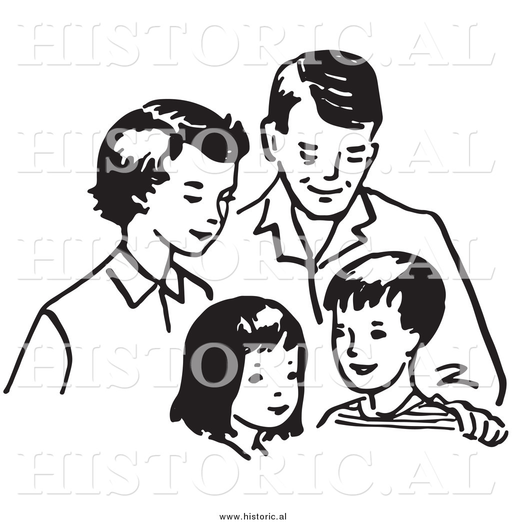 Mom dad family clipart black and white freeuse download Clipart of a Happy Family Together: Mom, Dad, Daughter, and Son ... freeuse download
