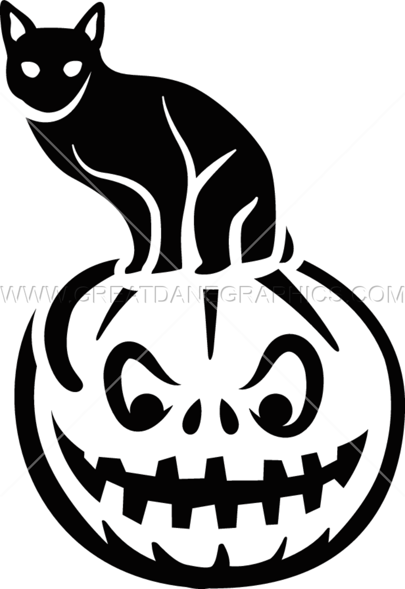 Black and white clipart pumpkin clip art library Black Cat On Pumpkin | Production Ready Artwork for T-Shirt Printing clip art library