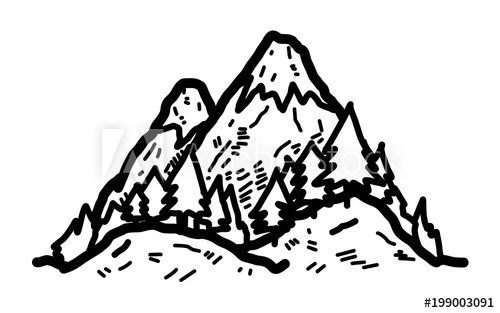 Black and white clipart of snow on mountain picture library stock snow mountain / cartoon vector and illustration, black and white ... picture library stock