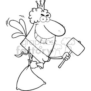 Tooth fairy clipart black and white clipart transparent library The Tooth Fairy Flying With A Mallet And Bag clipart. Royalty-free clipart  # 378981 clipart transparent library
